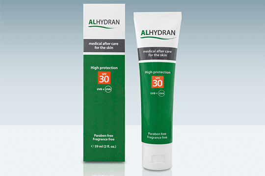 Medical cream for scars with uv protection Alhydran SPF 30